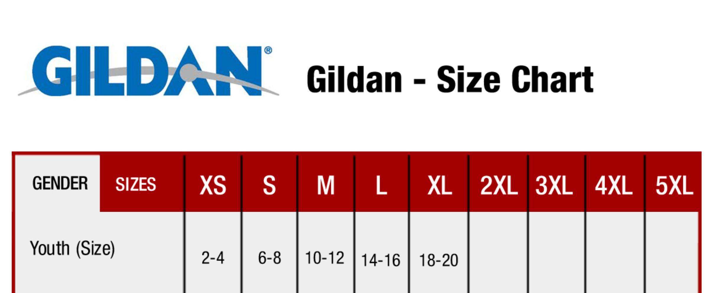 Gildan Youth Tee Shirt Size Chart
